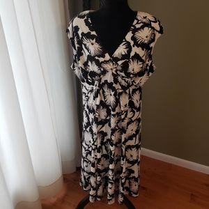 Chaps Black White Floral Dress Size 16W